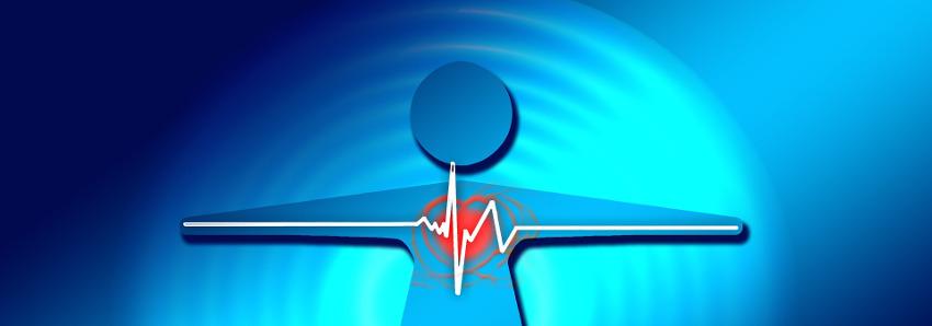 фигурка человека с сердцем и линией кардиограммы